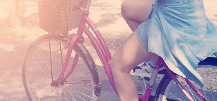 legs, woman riding bicycle