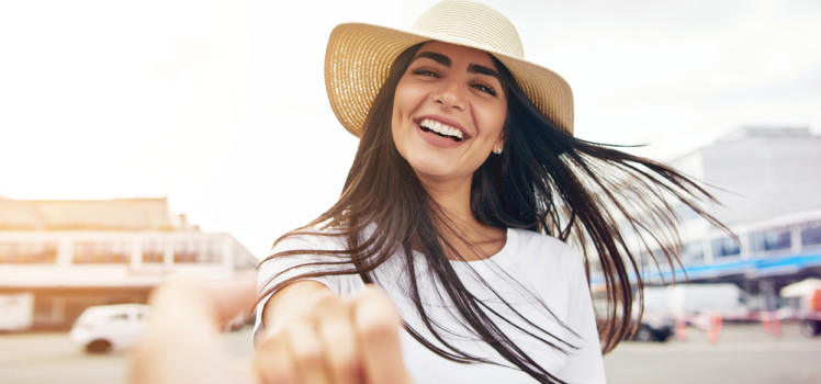woman smiling with dimples