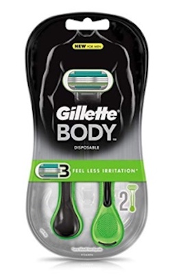 Gillette Body Men's Disposable Razor, 2 Count, Mens Razors : Blades
